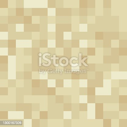 istock Pixel minecraft style land block background. Concept of game pixelated seamless square beige material background. Vector illustration 1300167326