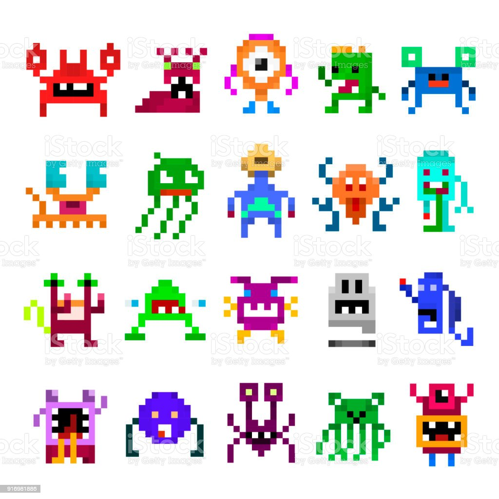 Pixel monster set vector art illustration
