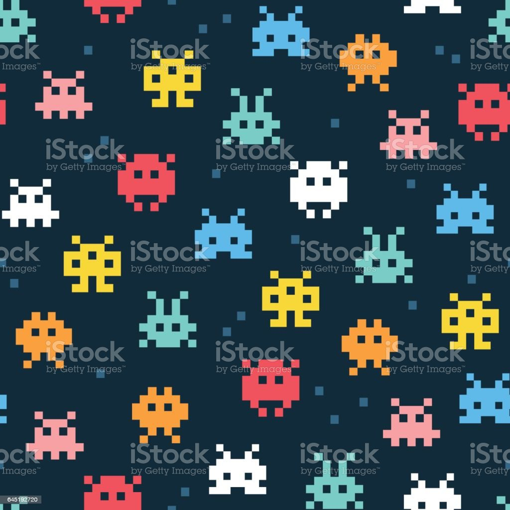 Pixel monsters. Cartoon vector pattern vector art illustration