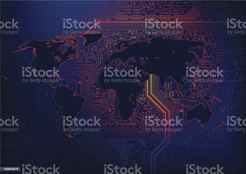 Pixel Mother board World vector art illustration