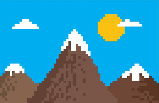 Pixel mountain vector illustration