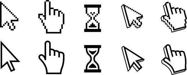 픽셀 마우스 커서를 - 커서 stock illustrations