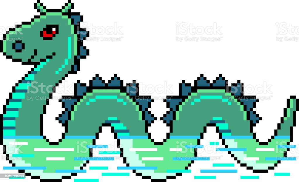 Pixel Nessie Loch Ness Monster Detailed Illustration Isolated Vector Stock Illustration Download Image Now Istock