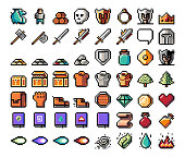 Pixel art, item, icon for the game. Vector illustration. Fantasy world. Old 8 bit style object.