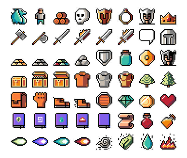 Pixel object art. Pixel art, item, icon for the game. Vector illustration. Fantasy world. Old 8 bit style object. drill bit stock illustrations