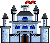 Pixel old castle detailed illustration isolated vector