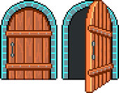 Pixel open closed door detailed illustration isolated vector