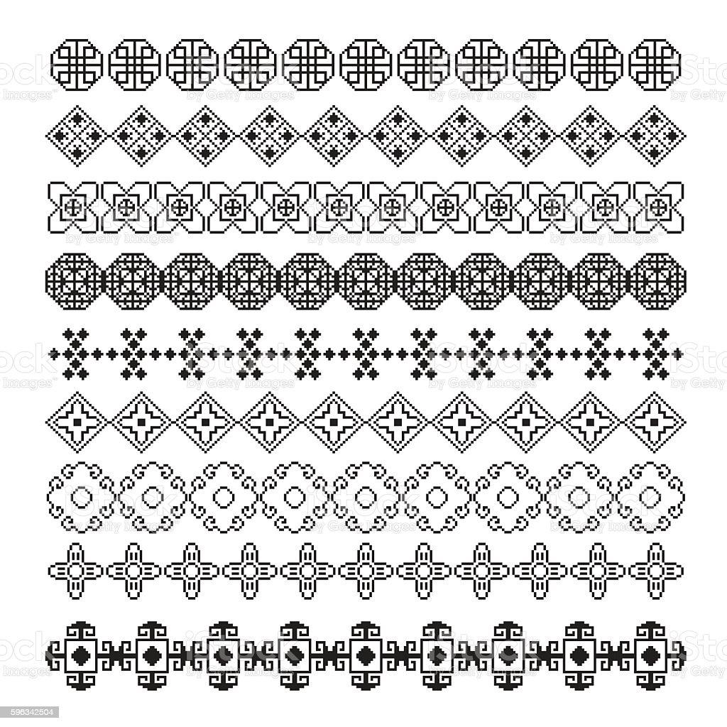 pixel ornament pattern brush, asian vector set Lizenzfreies pixel ornament pattern brush asian vector set stock vektor art und mehr bilder von abstrakt