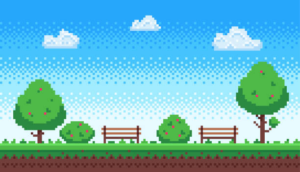 Pixel park. Retro 8 bit game blue sky, pixels trees and parks bench vector illustration Pixel park. Retro 8 bit game blue sky, pixels trees and parks bench. Game level scene, gaming green park nature wallpaper or 8 bit games 2d retro vector illustration video game stock illustrations