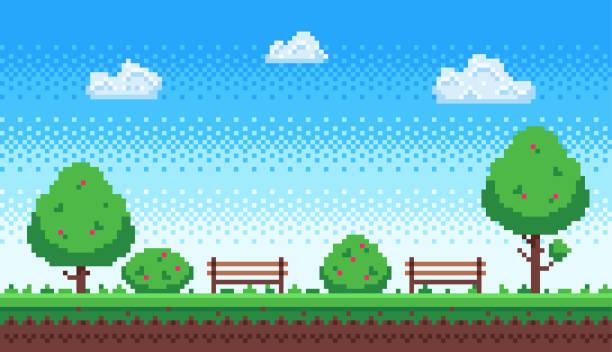 Pixel park. Retro 8 bit game blue sky, pixels trees and parks bench vector illustration Pixel park. Retro 8 bit game blue sky, pixels trees and parks bench. Game level scene, gaming green park nature wallpaper or 8 bit games 2d retro vector illustration pixelated stock illustrations