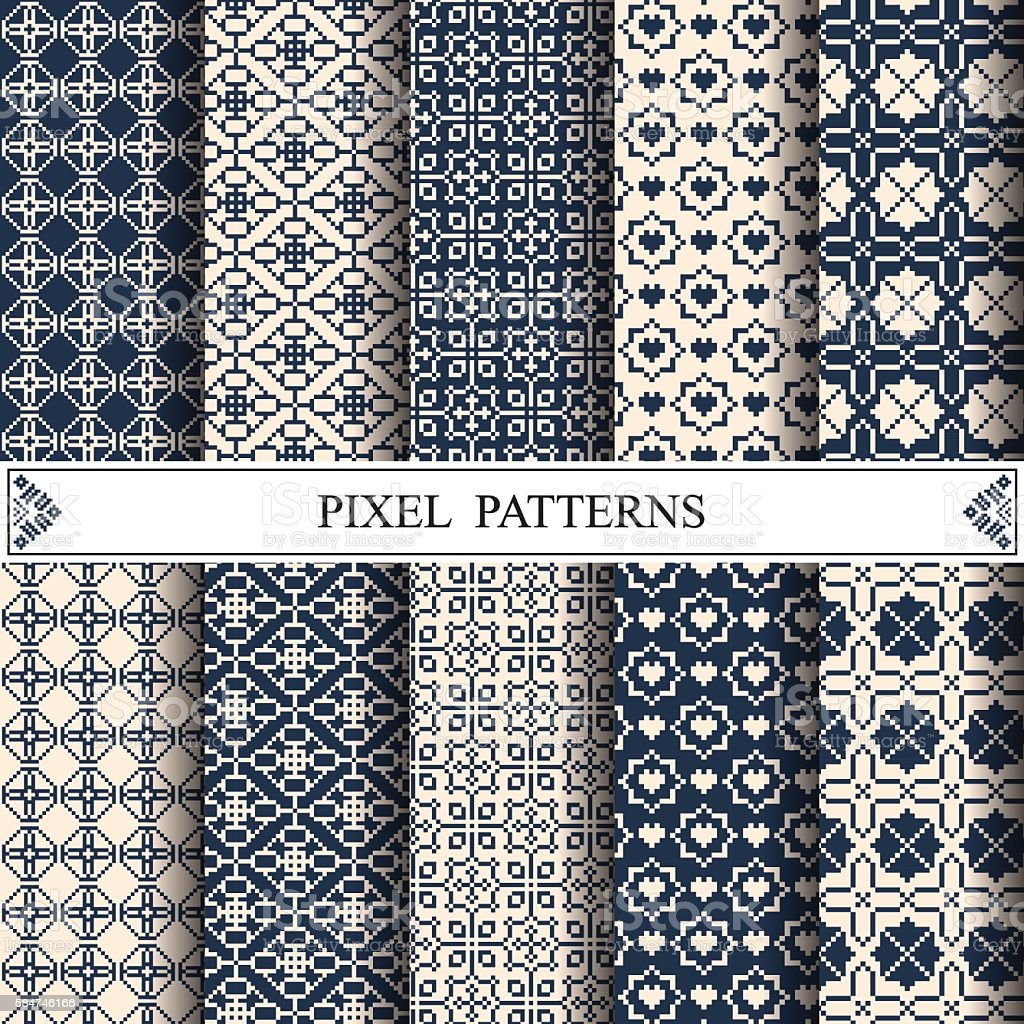 Pixel Pattern Textile Web Page Background Surface Textures Stock Vector Art & More Images of ...