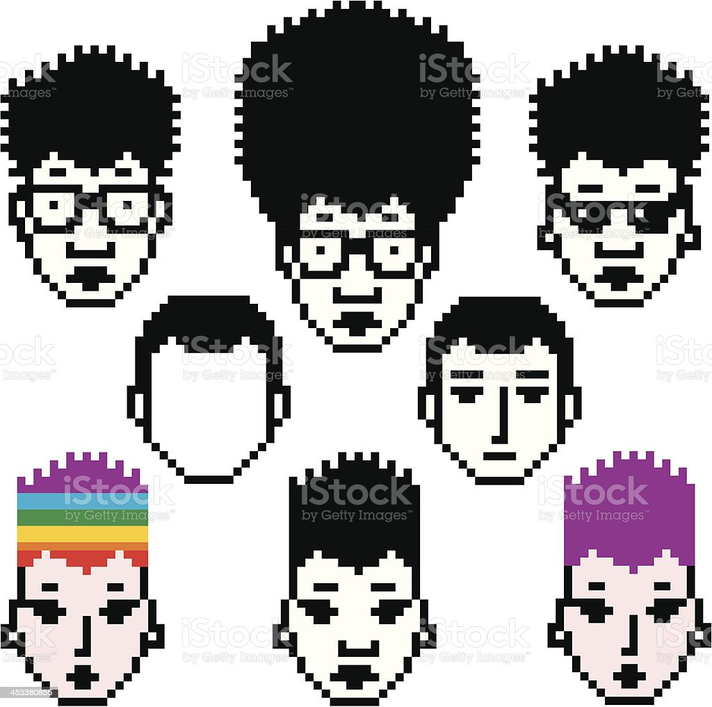 Collection of unusual pixel icons with people faces. Easy to...