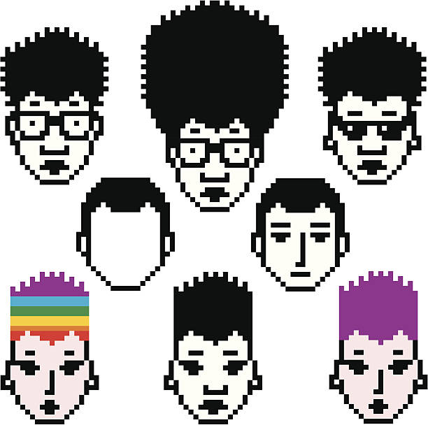 pixel people set three - black power stock illustrations