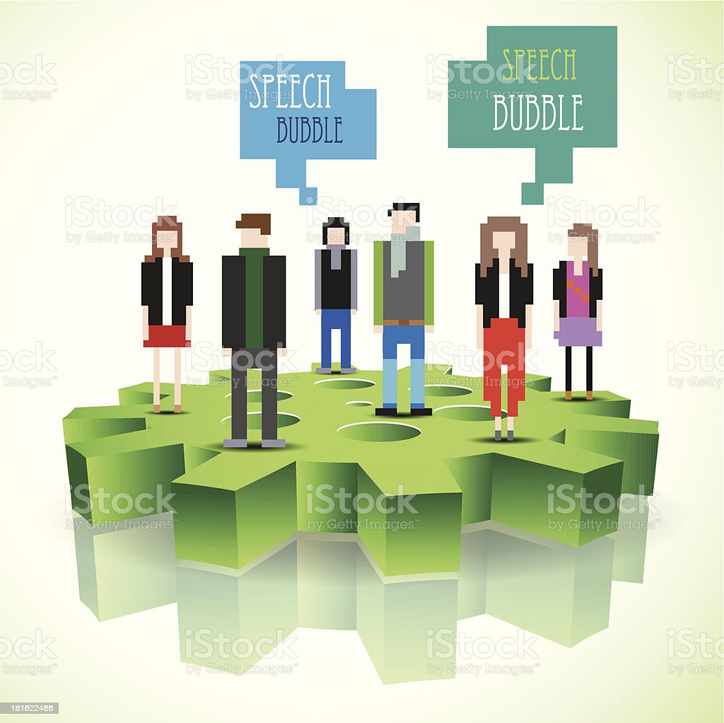 Pixel people standing on a 3d gear. royalty-free stock vector art