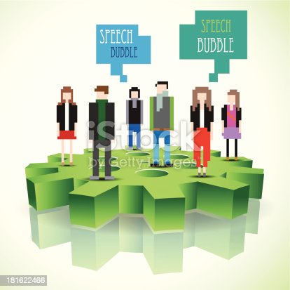 Pixel people standing on a 3d gear with speech bubbles. Vector design.