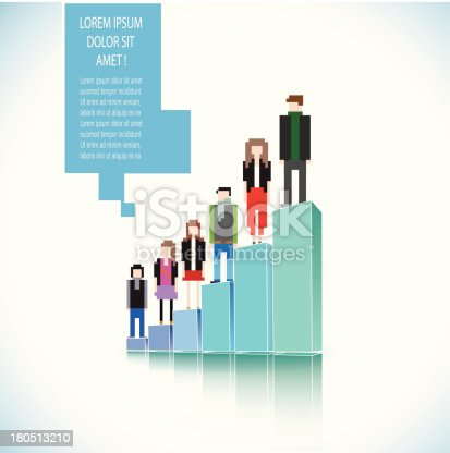 Pixel people standing on a 3d graph with speech bubble.