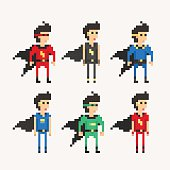Set of isolated Superhero characters in full length, created with a flat and minimalistic pixel-art graphic style, refer us to the old-school 8-bit computer video games.