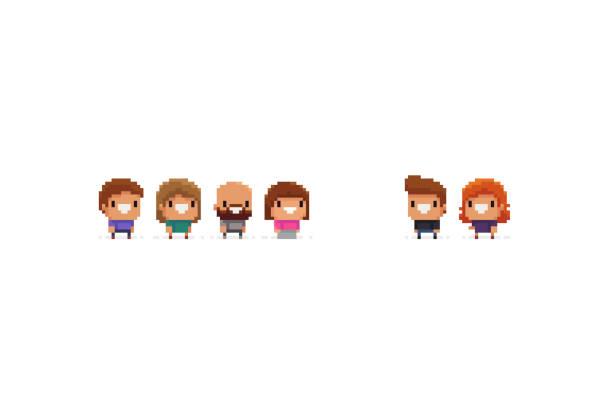 pixel personen - kindergesichtsfarben stock-grafiken, -clipart, -cartoons und -symbole