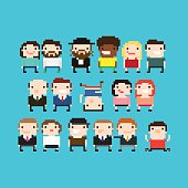 Different pixel art people characters