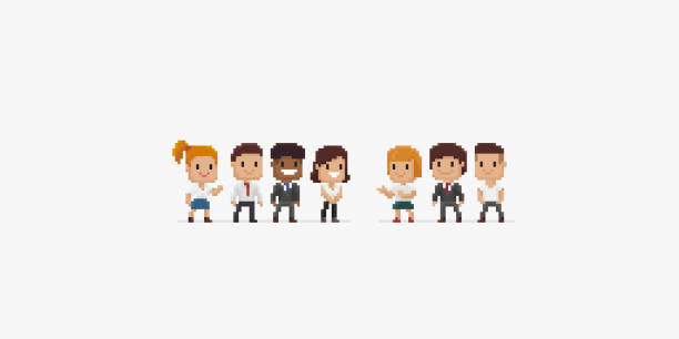 Pixel People Group of pixel art office characters, male and female, isolated on white background pixelated stock illustrations