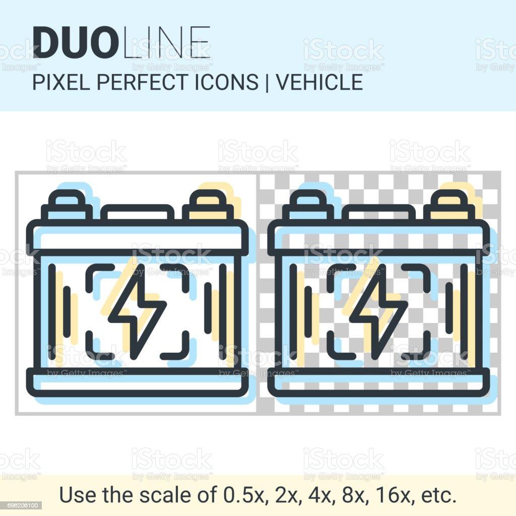 Pixel perfekte Duo Line Auto Batterie-Symbol in weißen und transparenten Hintergrund für responsive Web oder Produkt-Design. Einsetzbar in apps und Websites der Automobil- oder Transport Themen – Vektorgrafik