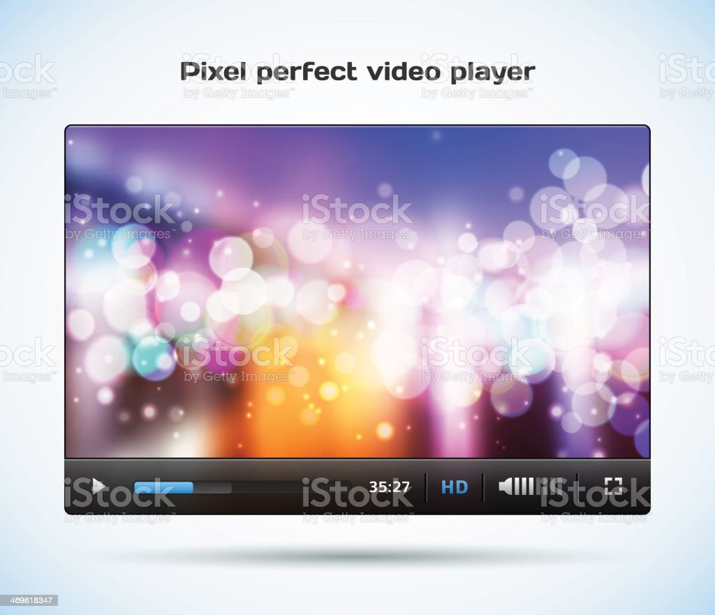 Pixel perfect video player for web. vector art illustration