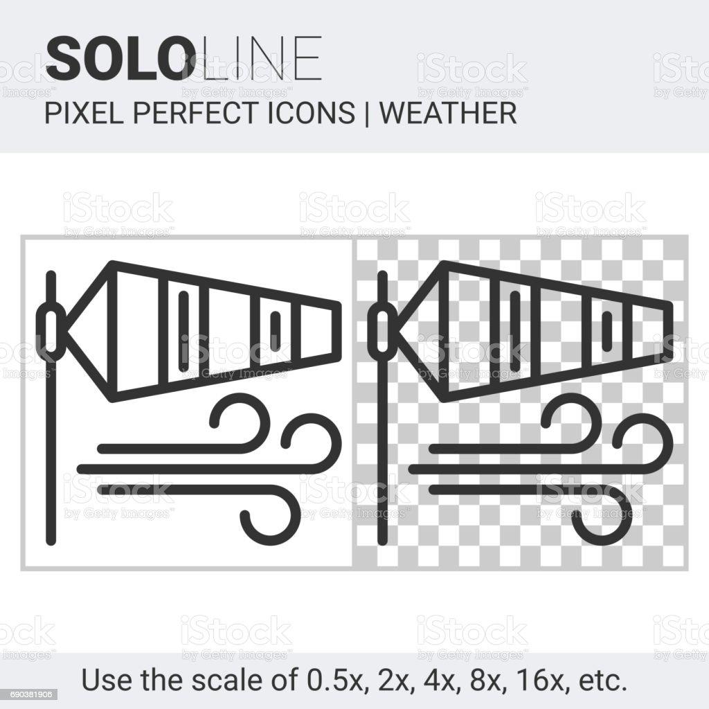 Ícone de pixel perfeito biruta em estilo de linha fina no fundo branco e transparente - ilustração de arte em vetor