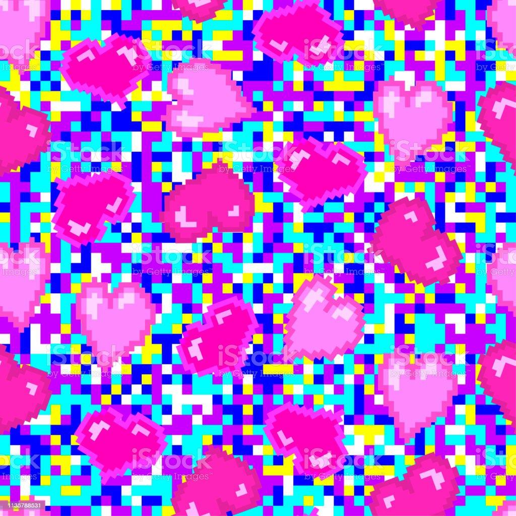 Motif De Coeurs Rose Pixel Fond De Pixel Multicolore De