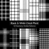 Pixel plaid pattern set. Seamless tartan check plaid in black and white for flannel shirt, skirt, dress, or other modern fashion textile design.