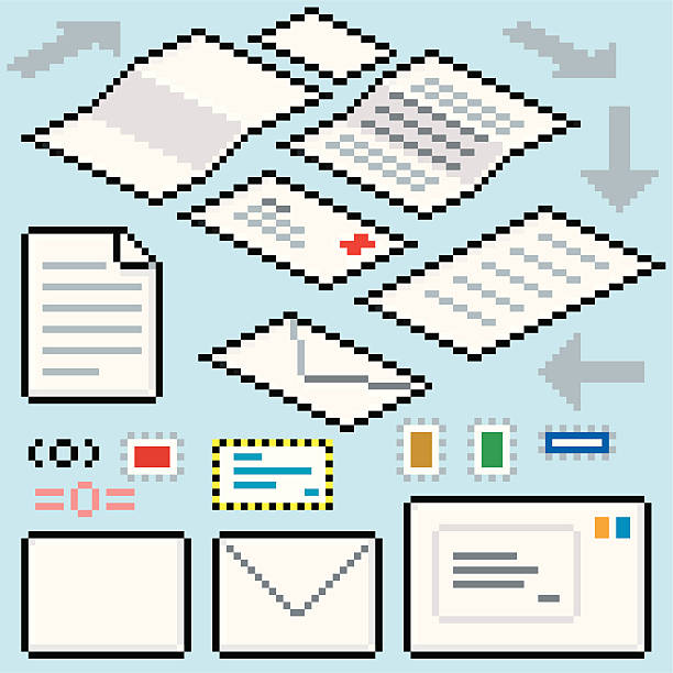 pixel post flow - russelltatedotcom stock illustrations