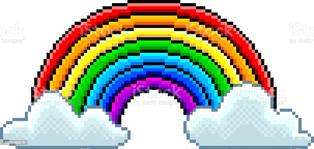 Pixel Rainbow With Clouds Isolated Vector Stock Illustration