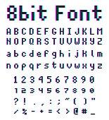 8bit font alphabet, retro style game type