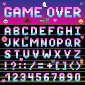Pixel retro font computer game design 8-16 bit letters and numbers electronic futuristic vector abc typeface digital alphabet print