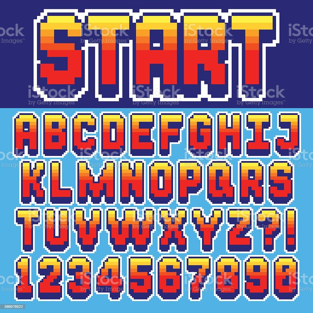Pixel retro font vector art illustration