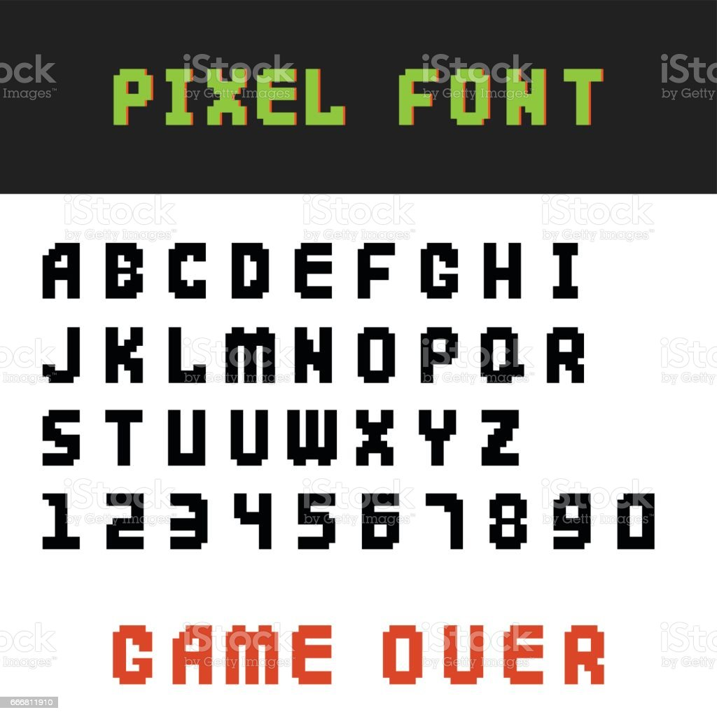 Pixel Retro Font Video Computer Game Design 8 Bit Letters Numbers Electronic Futuristic Style Vector Abc Typeface Digital Creative Alphabet Isolated Stock Illustration Download Image Now Istock