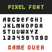 Pixel retro font video computer game design 8 bit letters numbers electronic futuristic style vector abc typeface digital creative alphabet isolated