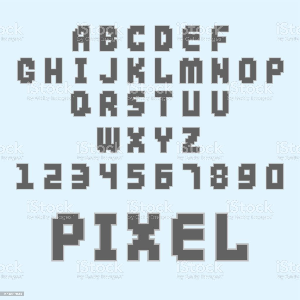 Pixel Retro Font Video Computer Game Design 8 Bit Letters