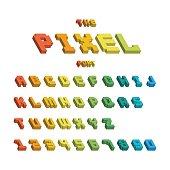 Pixel retro font video computer game design