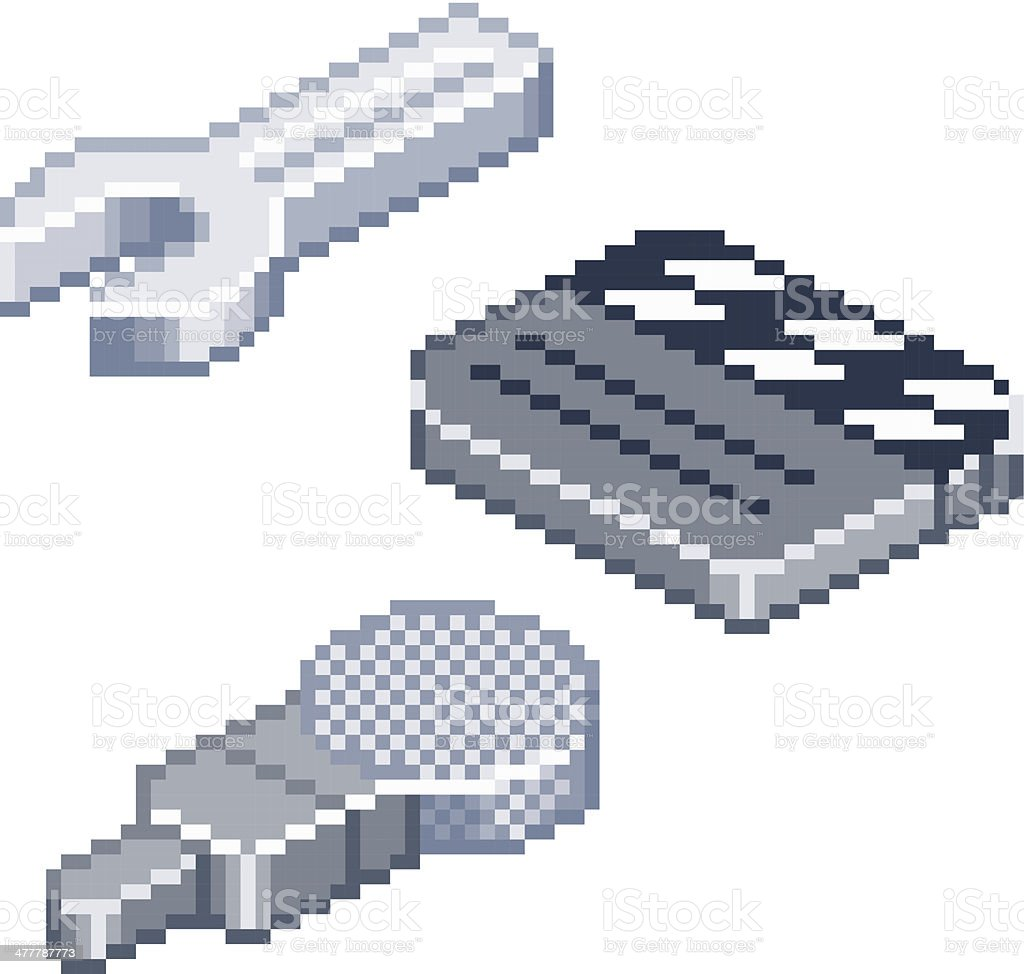 Pixel retro style isometric icons vector art illustration