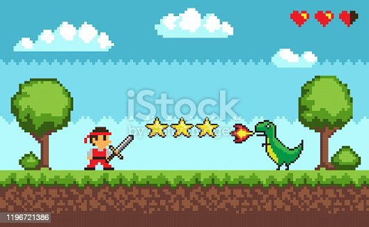 Pixel retro style of 8bit game mode character arcade vector. Man with sword fighting against dangerous dragon spitting fire, fight battle, lives status