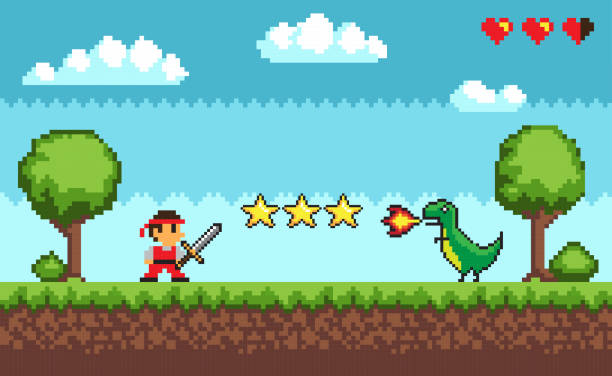 Pixel Retro Style of Game Mode Character Arcade Pixel retro style of 8bit game mode character arcade vector. Man with sword fighting against dangerous dragon spitting fire, fight battle, lives status video game stock illustrations