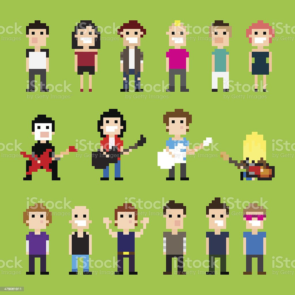 Pixel Rock vector art illustration