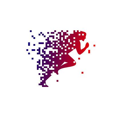 Pixel Run Modern Symbol