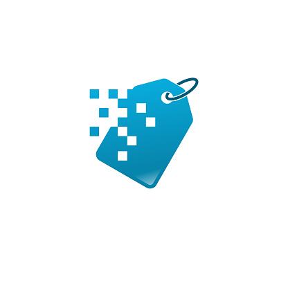 Pixel Shopping Bag logo, Online Shop logo, design concept, logo, logotype element for template