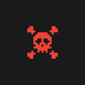 Pixel skull and crossbones icon. Vector illustration eps 10