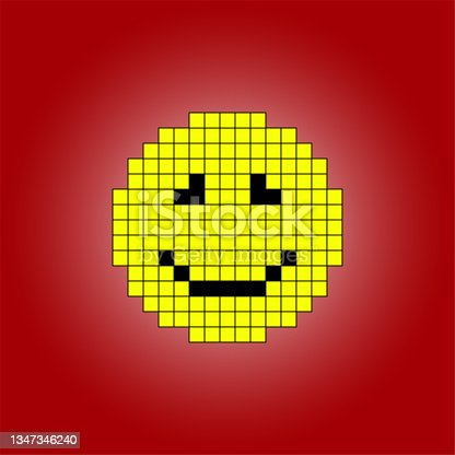 istock Pixel smiley close-up on a red background. Isolated. Vector image. 1347346240