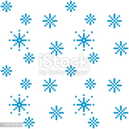 Pixel snowflakes seamless pattern on white background. Snowy weather.Vector illustration.