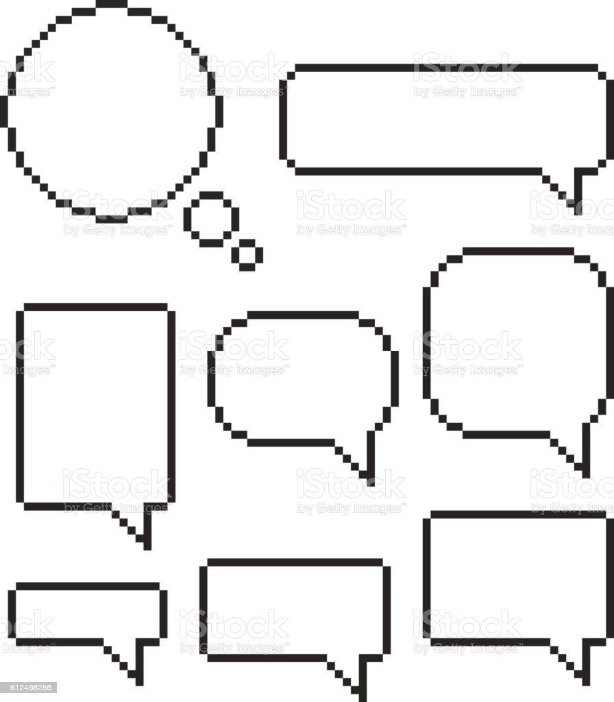 Pixel Sprechblase set Mosaik Dialogfelder – Vektorgrafik