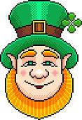 Pixel st Patrick portrait detailed illustration isolated vector