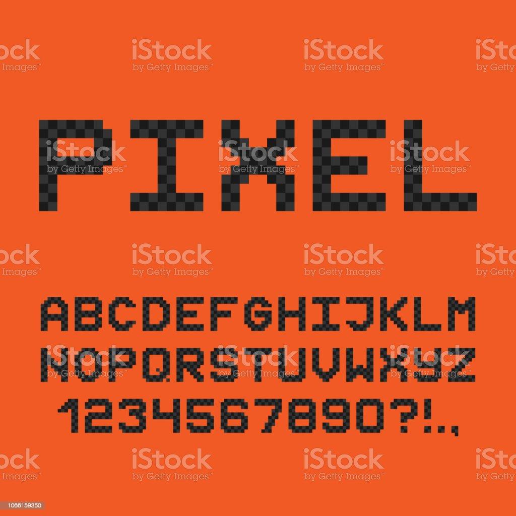 ピクセル スタイルのフォント。8 ビット ゲームのアルファベット。ベクトル ベクターアートイラスト
